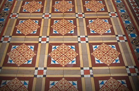 Victorian hall tiles - encaustic geometric floor