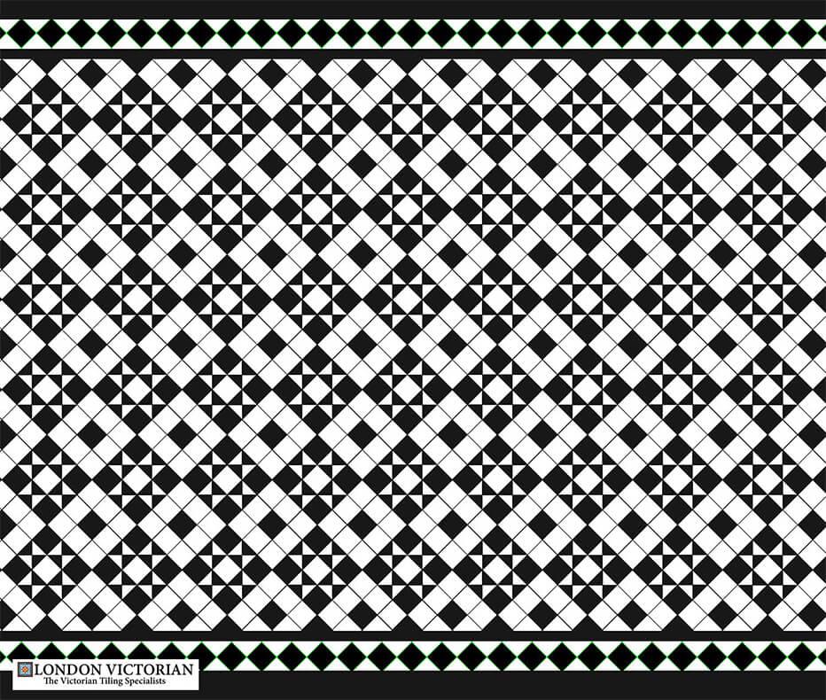 Black and white star tile design