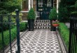 Victorian Tiled Front Path in Black and White - Braemar mosaic pattern
