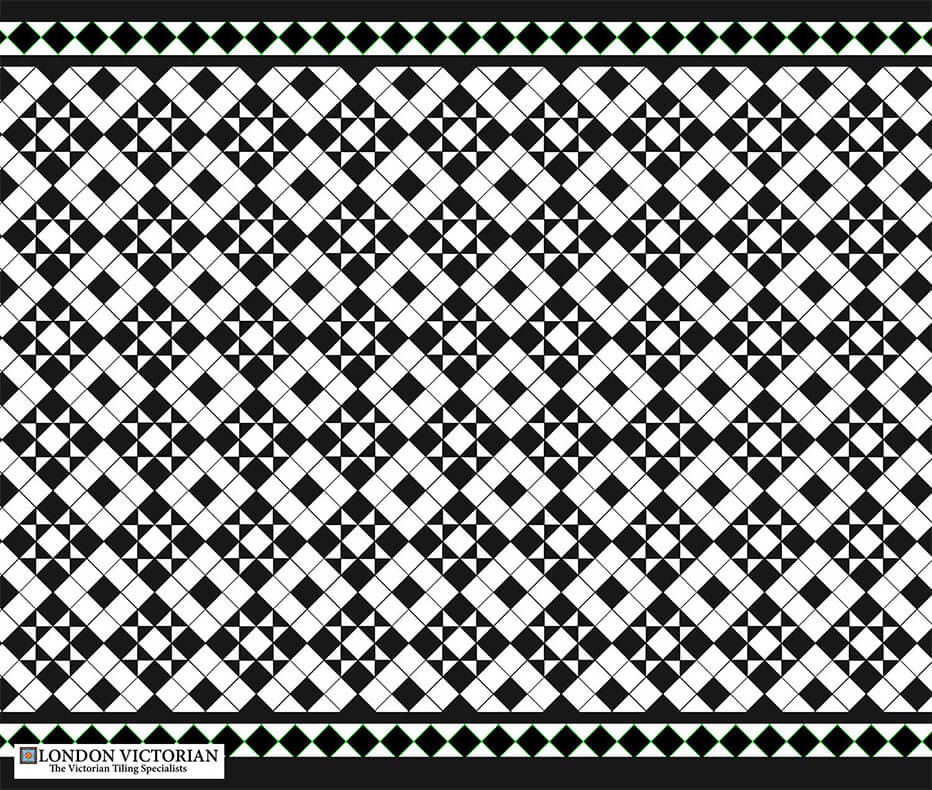 Black and white star tile design